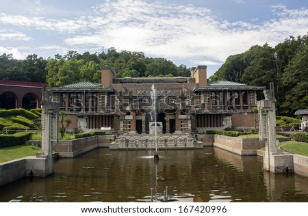 Front of the old Tokyo Imperial Hotel in Inuyama, Japan (Frank Lloyd Wright) - stock photo