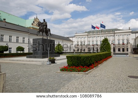 Front of the Presidential Palace in Warsaw - stock photo