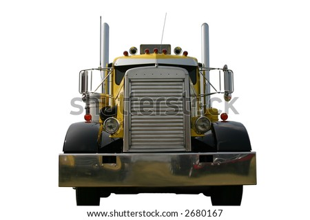 Front of Truck Yellow - stock photo