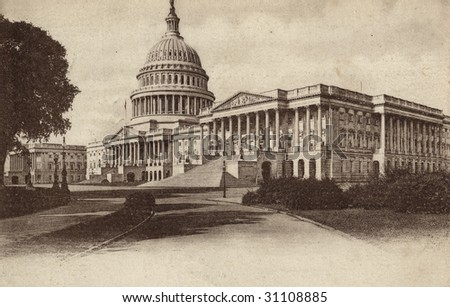 front of vintage postcard with drawing of the capitol - stock photo
