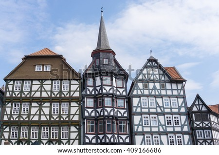 Front of wonderful old half-timbered houses in a village in Fritzlar, in Germany near Kassel in Hesse