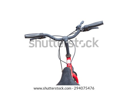 Front part of vintage bicycle. View from bikers eyes isolated on white background - stock photo