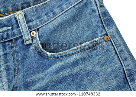 front pockets of jeans,isolation of jeans - stock photo
