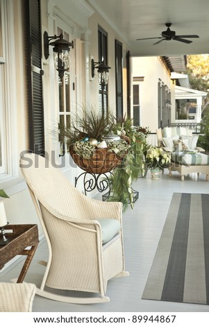 front porch entrance decorated for christmas - stock photo