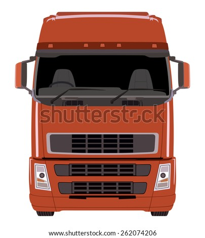 Front red truck on white background