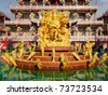 Front Sculpture of Naja in Chinese Temple,East of Thailand - stock photo