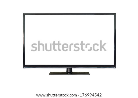 Front shot of plasma tv screen isolated on white background - stock photo