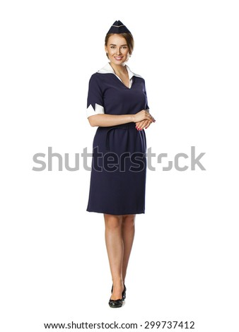 Front side, full body of a beautiful dark haired young business woman dressed in a dark blue suit with a blue scarf smiling, isolated on white background - stock photo