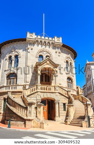 Front side of palace of Justice in Monte Carlo, Monaco in summertime. - stock photo