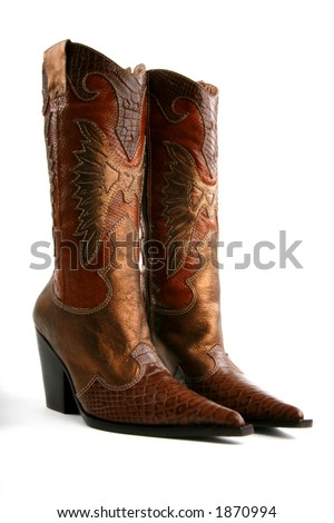front/side view of designer cowgirl boots - stock photo