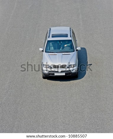 """front top view on a silver car - See similar images of this """"Luxury Cars"""" series in my portfolio - stock photo"""