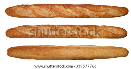 front, two-thirds, back views of a baguette bread - stock photo