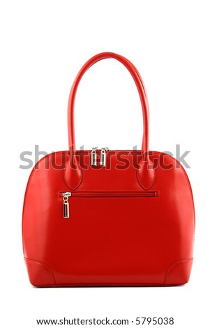 Front view at woman's nice red handbag on a white background