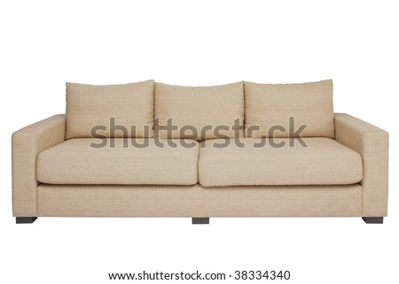 Front view beige couch on white. - stock photo