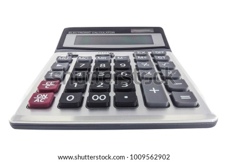 Front view Electronic Calculator isolated on white background, Clipping path inside.