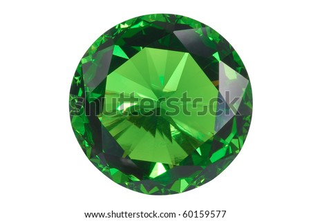 front view emerald isolated on white - stock photo