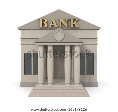 front view of a bank building (3d render)