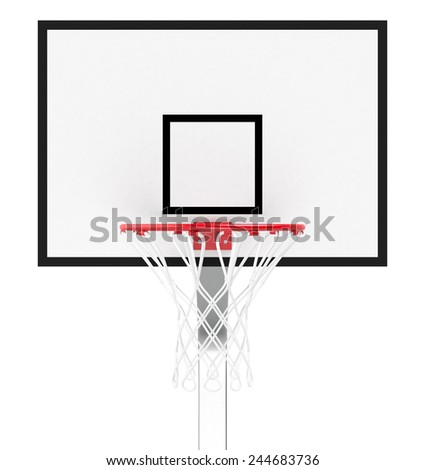 front view of a basketball hoop on white background (3d render) - stock photo