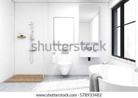 Front View Of A Bathroom Interior With A Shower A Toilet And A Sink