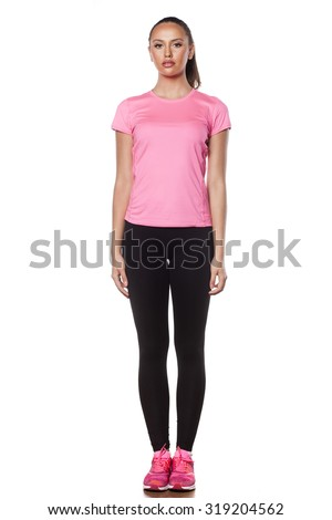 Front view of a beautiful young athlete on a white background - stock photo