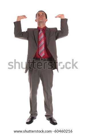 Front view of a businessman lifting his arms. Extra copy space. All isolated on white background.
