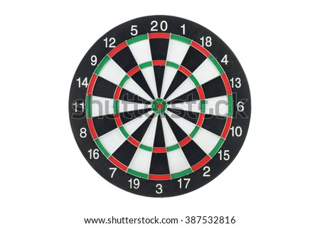 Front view of a dart board, isolated on white background.