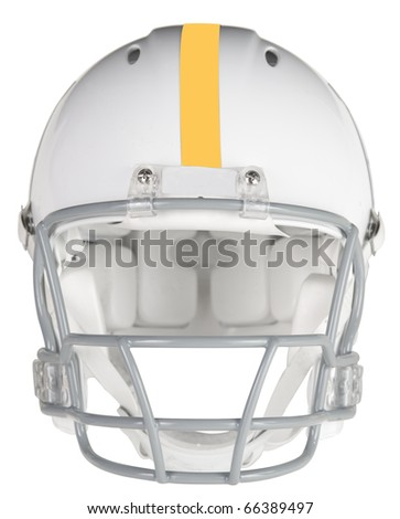 Front view of a football helmet with clipping path - stock photo