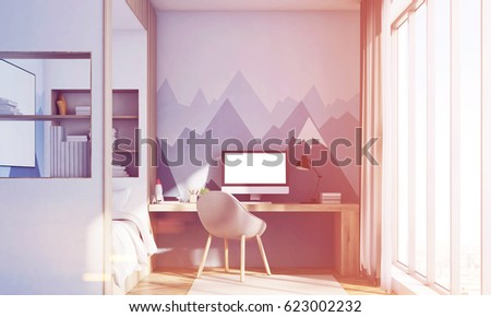 Front View Kids Room Interior Computer Stock Illustration 623002232 ...
