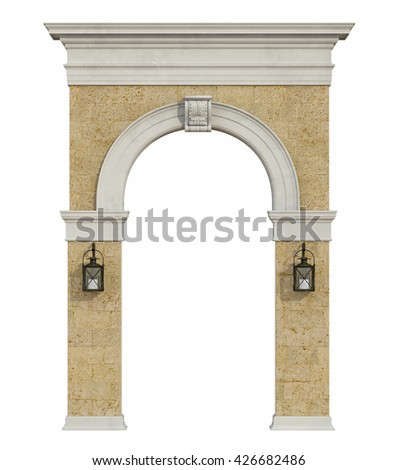 Front view of a medieval arch isolated on withe - 3d rendering - stock photo