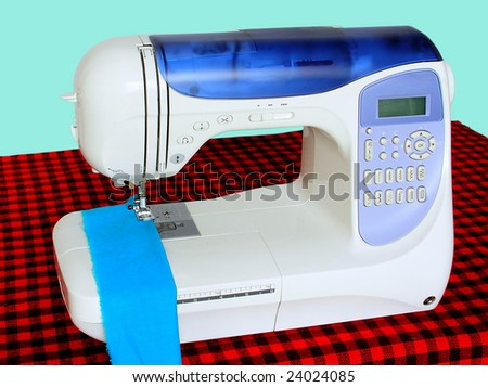 Front view of a modern electric sewing machine.