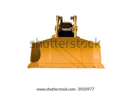 Front view of a new Caterpillar bulldozer isolated on white.