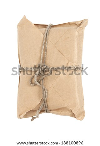 Front view of a parcel  tied with a string, isolated on white  - stock photo