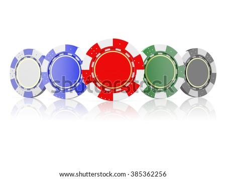 front view of a poker chips  isolated on a white background