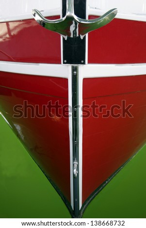 Front View Of A Red Boat Close Up