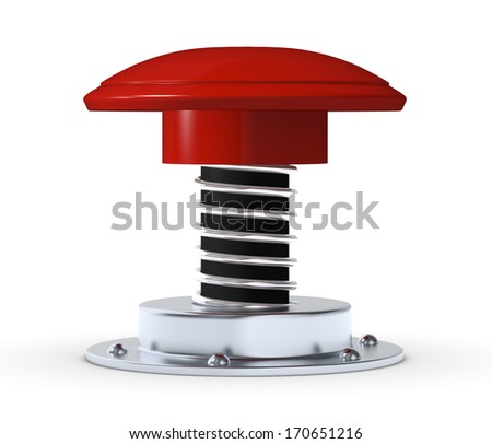 front view of a red push button (3d render) - stock photo