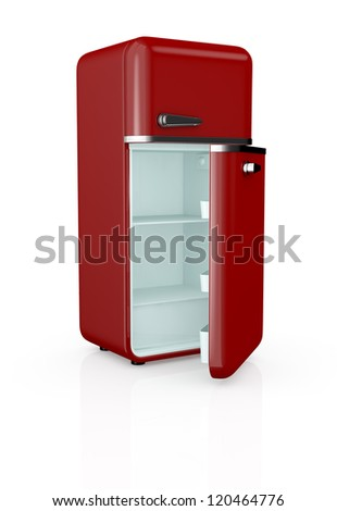 front view of a red vintage fridge, the door is open and the fridge is empty (3d render) - stock photo