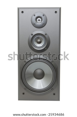 front view of a speaker box isolated against white background - stock photo