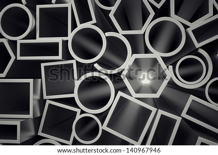 Front view of a stack of steel profiles. They are designed to meet high demands for performance, quality and precision. They are used in construction and manufacturing. - stock photo