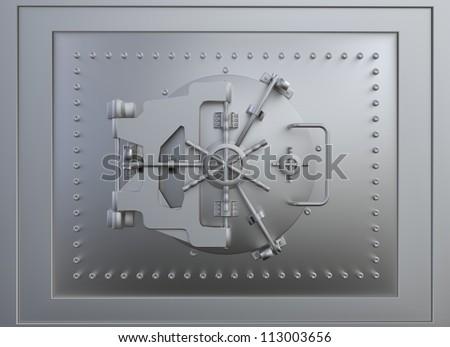 Front view of a steel vault door - stock photo