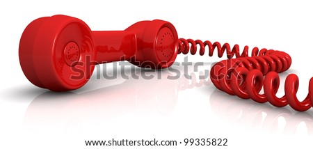 front view of a vintage handset with a spiral cable (3d render) - stock photo