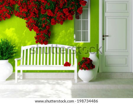 Front view of a wooden white door on a green house with window. Beautiful red roses and bench on the porch. Exterior of a house.