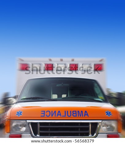 Front view of an ambulance in motion - stock photo