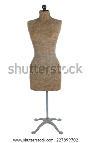 Front view of an antique dress form isolated on white. - stock photo