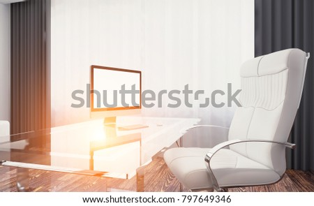 Front view of an office interior with a row of dark wood tables. 3D rendering. Sunset.