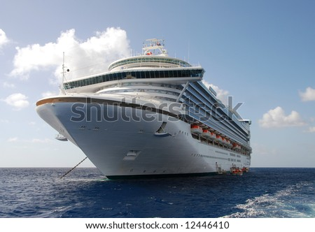 Front view of anchored ocean liner - stock photo
