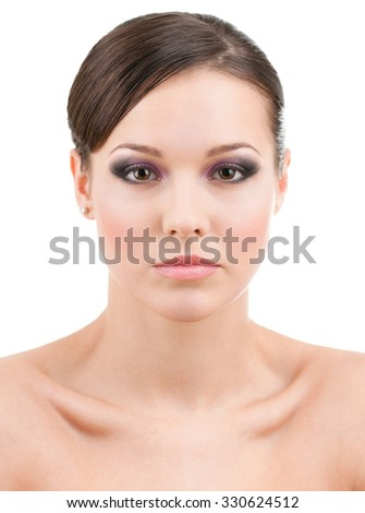 Front view of beautiful woman with makeup, isolated on white