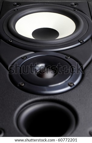 Front view of big loudspeaker with two drivers and bass reflex vent - stock photo