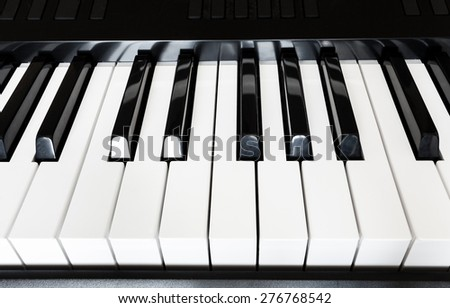 front view of black and white keys of musical digital keyboard close up - stock photo