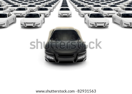 Front view of black sports car leaving the pack with hundreds white - stock photo