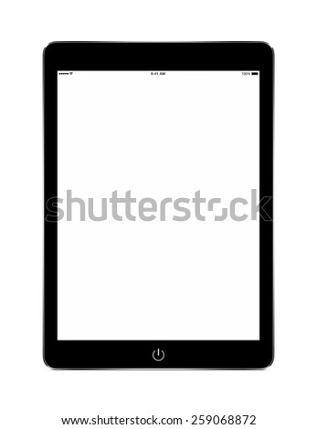 Front view of black tablet computer with blank screen mockup on white background. - stock photo